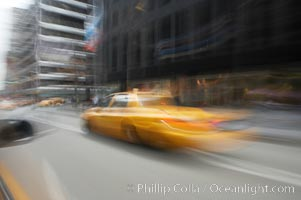 Crazy taxi ride through the streets of New York City. Manhattan, New York City, New York, USA, natural history stock photograph, photo id 11193
