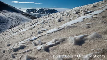 Crested snow patterns along the slopes of Devil Island. Devil Island, Antarctic Peninsula, Antarctica, natural history stock photograph, photo id 24818
