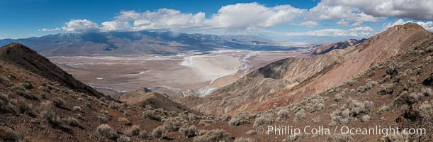 Dante's View, Death Valley National Park. Dante's View is a viewpoint terrace at 1,669 m (5,476 ft) height on the north side of Coffin Peak along the crest of the Black Mountains overlooking Death Valley