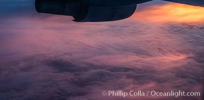Dawn over the North Atlantic, viewed from 35,000' altitude., natural history stock photograph, photo id 29428