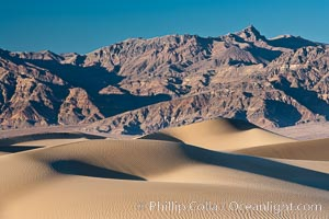 Sand Dunes and the Grapevine Mountains, California.  Near Stovepipe Wells lies a region of sand dunes, some of them hundreds of feet tall. Death Valley National Park, USA, natural history stock photograph, photo id 15638
