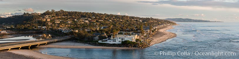 Del Mar beach and homes at sunset, dog beach and San Dieguito lagoon inlet, panoramic photo