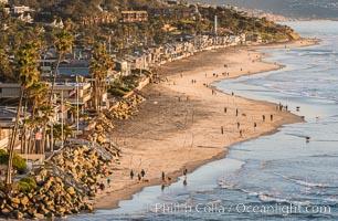 Del Mar beach and homes at sunset. California, USA, natural history stock photograph, photo id 30491