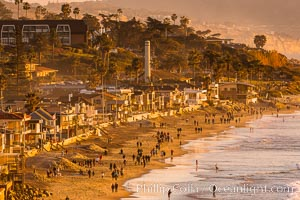 Del Mar Beach at Sunset, northern San Diego County. California, USA, natural history stock photograph, photo id 35066