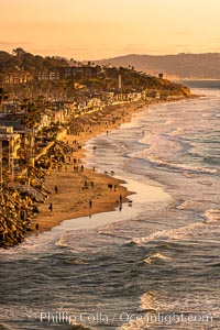Del Mar Beach at Sunset, northern San Diego County. California, USA, natural history stock photograph, photo id 35069