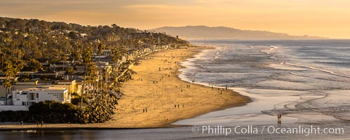 Del Mar Beach at Sunset, northern San Diego County. California, USA, natural history stock photograph, photo id 35099