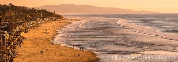 Del Mar Beach at Sunset, northern San Diego County. California, USA, natural history stock photograph, photo id 35110