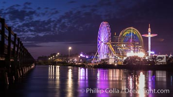 Del Mar Fair and San Dieguito Lagoon at Night.  Lights from the San Diego Fair reflect in San Dieguito Lagooon, with the train track trestles to the left. California, USA, natural history stock photograph, photo id 31024