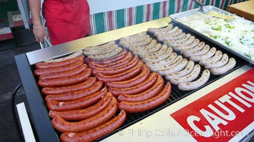 Sausages on the grill, hot dogs, bratwurst, Del Mar Fair