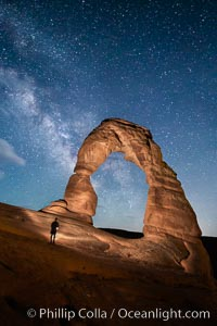 Delicate Arch and Milky Way, lit by quarter moon, hiker's flashlight and the fading blue sky one hour after sunset.  Arches National Park, Utah