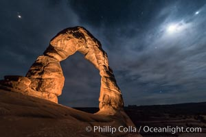 Delicate Arch with Stars and Moon, at night, Arches National Park. Utah, USA, natural history stock photograph, photo id 29287