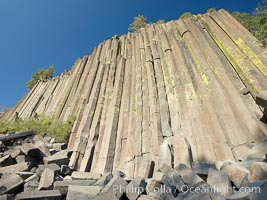 Devil's Postpile, a spectacular example of columnar basalt.  Once molten and under great pressure underground, the lava that makes up Devil's Postpile cooled evenly and slowly, contracting and fracturing into polygonal-sided columns.  The age of the formation is estimated between 100 and 700 thousand years old.  Sometime after the basalt columns formed, a glacier passed over the formation, cutting and polishing the tops of the columns.  The columns have from three to seven sides, varying because of differences in how quickly portions of the lava cooled. Devils Postpile National Monument, California, USA, natural history stock photograph, photo id 23282