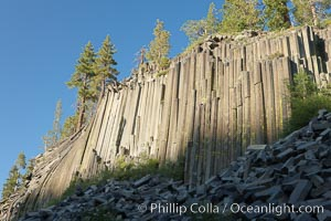 Devil's Postpile, a spectacular example of columnar basalt.  Once molten and under great pressure underground, the lava that makes up Devil's Postpile cooled evenly and slowly, contracting and fracturing into polygonal-sided columns.  The age of the formation is estimated between 100 and 700 thousand years old.  Sometime after the basalt columns formed, a glacier passed over the formation, cutting and polishing the tops of the columns.  The columns have from three to seven sides, varying because of differences in how quickly portions of the lava cooled. Devils Postpile National Monument, California, USA, natural history stock photograph, photo id 23286