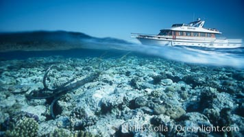 Dive boat anchors on the coral reef, Egyptian Red Sea