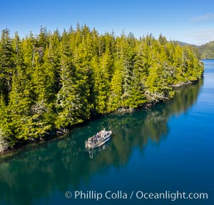 Dive Boat Hurst Island, Browning Pass, aerial photo, Canada