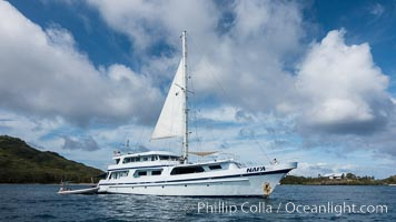Dive Boat Naia, M/V Naia, at anchor off Wakaya Island, Fiji., natural history stock photograph, photo id 31856