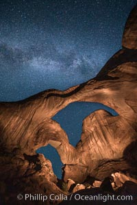 Double Arch and the Milky Way, stars at night, Arches National Park, Utah