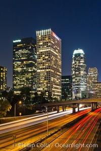Downtown Los Angeles at night, street lights, buildings light up the night. Los Angeles, California, USA, natural history stock photograph, photo id 27729