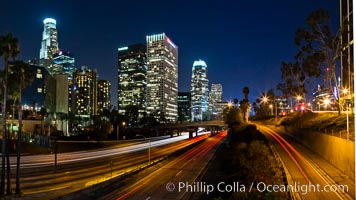 Downtown Los Angeles at night, street lights, buildings light up the night. Los Angeles, California, USA, natural history stock photograph, photo id 27730