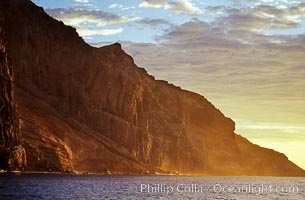 East face and shoreline of southernmost morro, daybreak, Guadalupe Island (Isla Guadalupe)