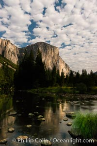 El Capitan and clouds lit by full moon, stars, evening. El Capitan, Yosemite National Park, California, USA, natural history stock photograph, photo id 28694