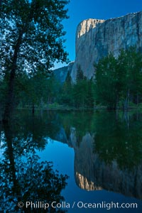 El Capitan reflected in the Merced River. Yosemite National Park, California, USA, natural history stock photograph, photo id 26870