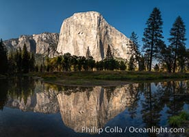 Panorama of El Capitan reflected in Merced River, Yosemite National Park