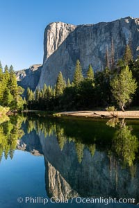 El Capitan reflection mirrored in the Merced River, Yosemite National Park