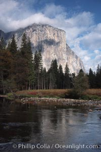 El Capitan and Merced River, Yosemite Valley. El Capitan, Yosemite National Park, California, USA, natural history stock photograph, photo id 05413