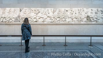 Elgin Marbles, a collection of classical Greek marble sculptures that originally were part of the Parthenon of Athens. British Museum, London, United Kingdom, natural history stock photograph, photo id 28311