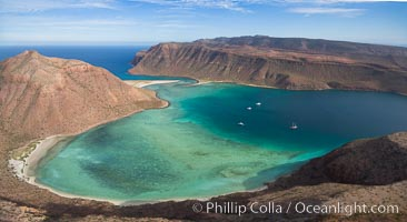 Ensenada de la Partida, Isla Partida and Isla Espiritu Santo, Sea of Cortez, aerial photo