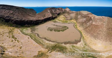 Ephemeral Lake atop Summit Mesa, Isla Partida, aerial view, Sea of Cortez, Baja California