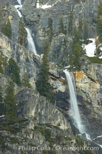 An ephemeral waterfall on the west side of Sentinel Rock.  This fall only flows during years of exceptional snow and rainfall, Yosemite National Park, California