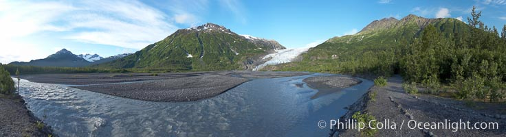 Panorama of Exit Creek, early morning, summer, as it washes over the flood plain below Exit Glacier, Kenai Fjords National Park, Alaska