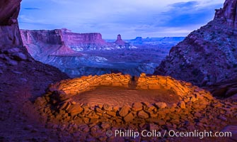False Kiva at Sunset, Canyonlands National Park, Utah. USA, natural history stock photograph, photo id 28017