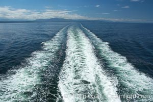 Ferry wake, enroute from Horseshoe Bay to Nanaimo, Vancouver Island, crossing the Strait of Georgia. British Columbia, Canada, natural history stock photograph, photo id 21163
