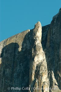 The Finger, a dramatic spire alongside Yosemite Falls that is a popular destination for advanced climbers, Yosemite Valley, Yosemite National Park, California