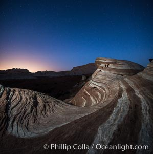 The Fire Wave at night, lit by the light of the moon. Valley of Fire State Park, Nevada, USA, natural history stock photograph, photo id 28430