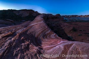 The Fire Wave at night, lit by the light of the moon, Valley of Fire State Park