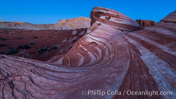 The Fire Wave at night, lit by the light of the moon. Valley of Fire State Park, Nevada, USA, natural history stock photograph, photo id 28434