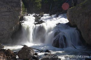 Firehole Falls drops 40 feet in the narrow Firehole Canyon. Yellowstone National Park, Wyoming, USA, natural history stock photograph, photo id 13309