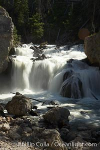Firehole Falls drops 40 feet in the narrow Firehole Canyon. Yellowstone National Park, Wyoming, USA, natural history stock photograph, photo id 13312