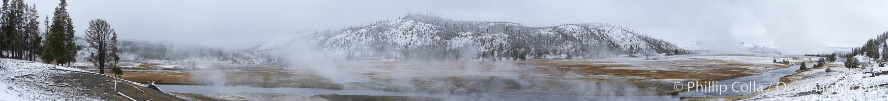Firehole River, natural hot spring water steaming in cold winter air, panorama, Midway Geyser Basin, Yellowstone National Park, Wyoming