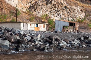 Fishing shack and Mexican naval outpost near Spanish Cove, north end of Guadalupe Island (Isla Guadalupe)