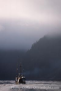 Fishing boat and clearing mist, Baranof Warm Springs, Baranof Island