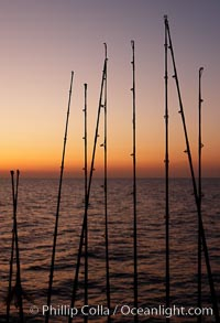 Fishing rods, sunrise, Santa Barbara Island