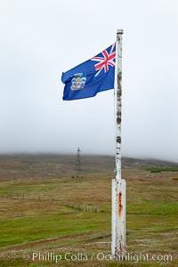 Flag flying in fog, Westpoint Island
