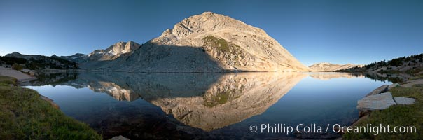 Fletcher Peak (11410') reflected in Townsley Lake, at sunrise, panoramic view. Yosemite National Park, California, USA, natural history stock photograph, photo id 25752