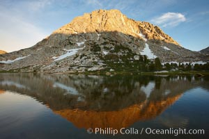 Fletcher Peak (11407') rises above Fletcher Lake (10174'), near Vogelsang High Sierra Camp in Yosemite's high country. Yosemite National Park, California, USA, natural history stock photograph, photo id 23213