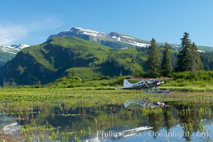 Float plane, water lilies and pond lie beneath the Chigmit Range near Silver Salmon Creek. Lake Clark National Park, Alaska, USA, natural history stock photograph, photo id 19080